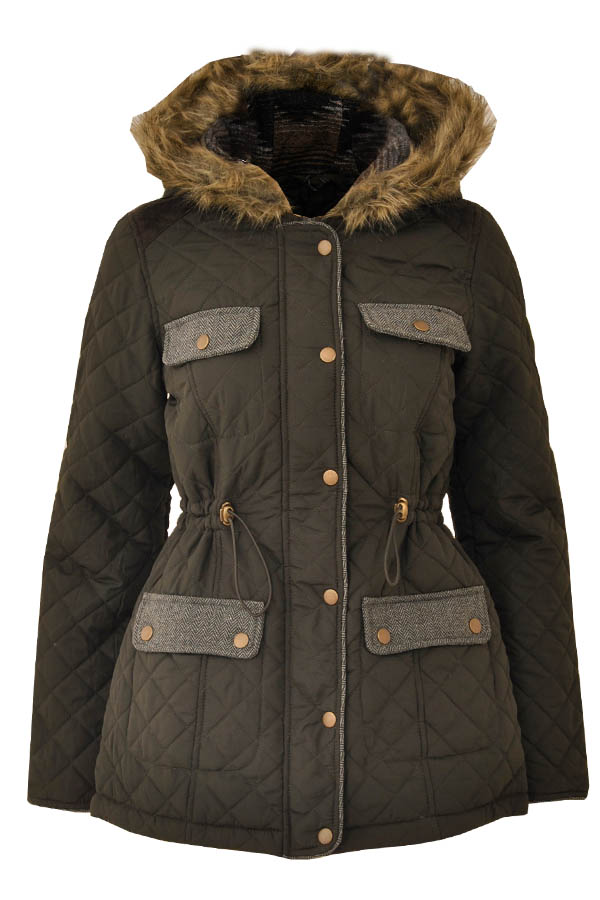 womens winter hooded quilted jacket with drawstring waist